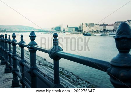 River Side Iron Fence View At Dusk In Budapest, Hungary