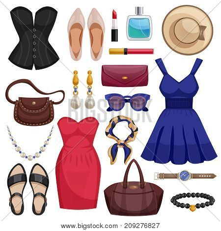 Colored and isolated women accessories icon set with clothes dress shoes handbags accessories and cosmetics vector illustration