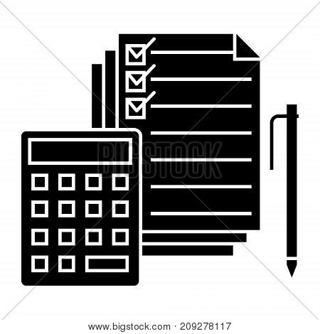 accounting - calculator, pen, checkbox docs icon, illustration, vector sign on isolated background