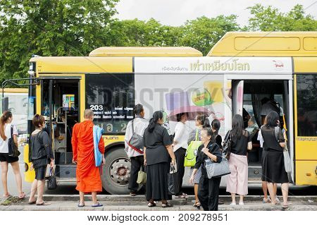 Public transport Thailand 21 July 2017 : Many people waiting at bus stop.