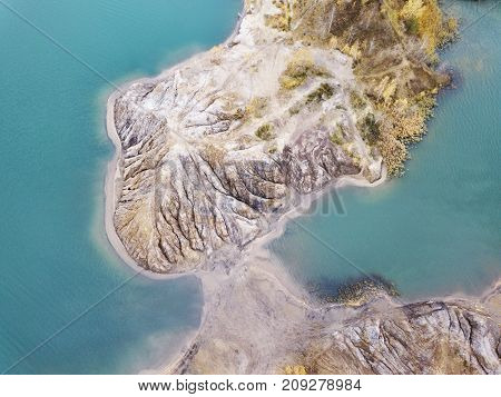 Turquoise Quarry At Romantsevo (village Konduki).  View From Above. Autumn Landscape