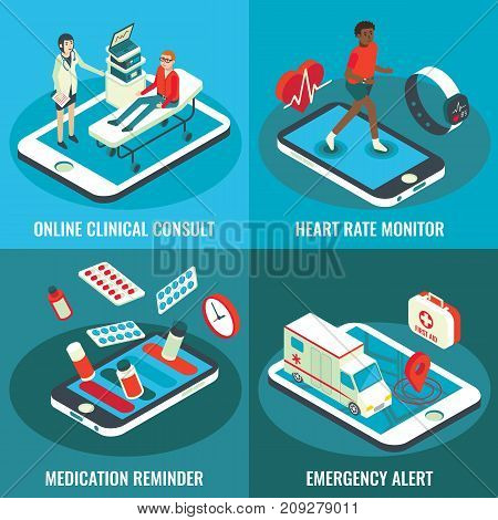 Online medical services vector flat isometric poster set. Online clinical consult, Heart rate monitor, Medication reminder, Emergency alert concept design elements for web banners, print, infographics