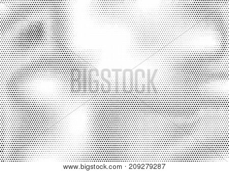 Futuristic abstract horizontal semitone background with unevenly accumulated dots of different size. Grunge gradient dotted texture. Modern geometric vector illustration in black and white colors