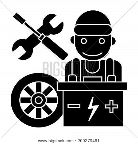 auto mechanic - battery wheel - screwdriver and wrench icon, illustration, vector sign on isolated background