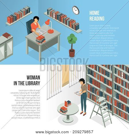 Isometric book reading horizontal banners collection with female librarian character in library interior environment with text vector illustration