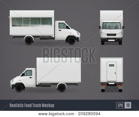 Food trucks realistic ad template mockup set of isolated commercial vehicle side view images without branding vector illustration