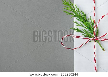 Elegant White Gift Box Tied with Red Ribbon Green Juniper Twig. Christmas New Years Presents Shopping Sale. Gray Background Copy Space