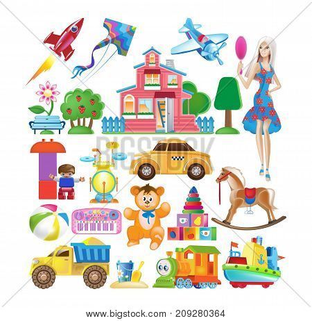 Set of various modern colorful children's toys. Toy store, kindergarten, home kids games. Educational and sports games. Dolls, transport, figures, constructors. Vector illustration isolated.