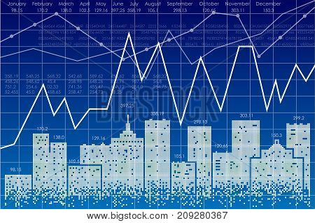 Vector business theme illustration. Night city and stock charts.