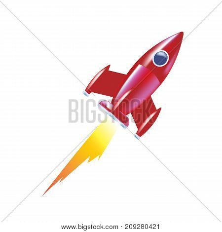 Modern colorful children's toys. Toy store, kindergarten, home kids games. Educational and sports games. Children rocket, soaring up. Launch of space rocket, creative idea, ship. Vector illustration.