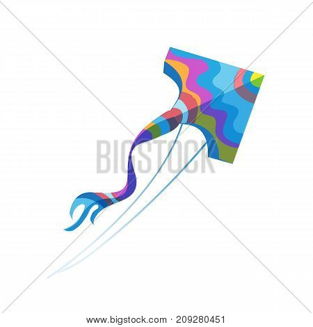Modern colorful children's toys. Toy store, kindergarten, home kids games. Educational and sports games. Colorful flying kite in sky. Summer, holiday, vacation, walk with games. Vector illustration.