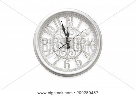 Vintage white clock isolated over white background