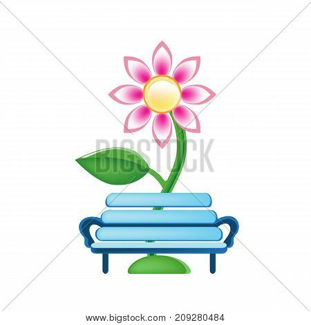 Colorful children's toys. Toy store, kindergarten, home kids games. Educational and sports games. Toy children's orchard with berries and fruits. Bench and flowers beside it. Vector illustration.