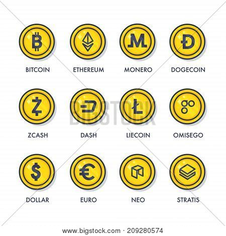 Icons of virtual currency: bitcoin, ethereum, monero, litecoin, dash, stratis, zcash, neo, omisego.