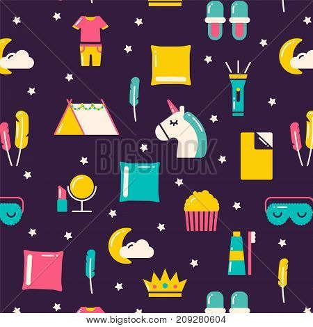 Seamless pattern with unicorn. pillows and other party stuff.