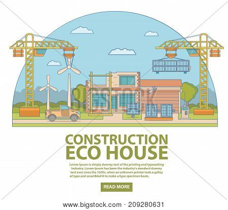 Construction eco house concept vector illustration with modern eco building and wind turbines. Ecological concept thin linear flat style design element for web banners and printed materials.
