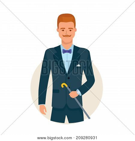 Smart creative man cartoon character person in different situations. Handsome man, in a business suit, stands with cane in his hands, well-groomed, neat man. Vector illustration isolated.