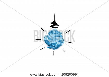 3d illustration of Imitation of lightbulb with cracked paper inside. Inspiration concept background