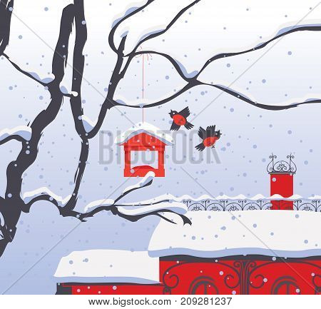 Vector winter landscape with snow-covered roofs branches of a tree bullfinches and a bird feeder in the snow in flat style