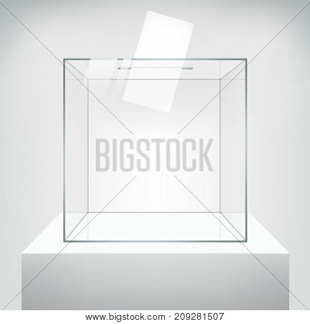 Transparent ballot box with voting paper in hole. Realistic vector 3D illustration on neutral background.