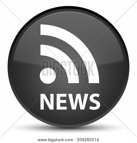 News (rss Icon) Special Black Round Button