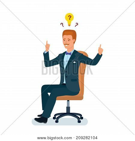 Smart creative man cartoon character. Man in business suit, sitting in chair reasoning about solutions, ideas. Creative thinking, ideological inspiration, creativity, brainstorm. Vector illustration.