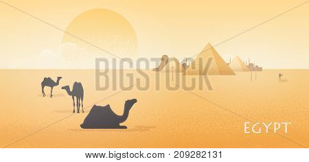 Gorgeous Egypt desert landscape with silhouettes of camels standing and lying against Giza pyramid complex, statue of Great Sphinx and large scorching sun on background. Colorful vector illustration