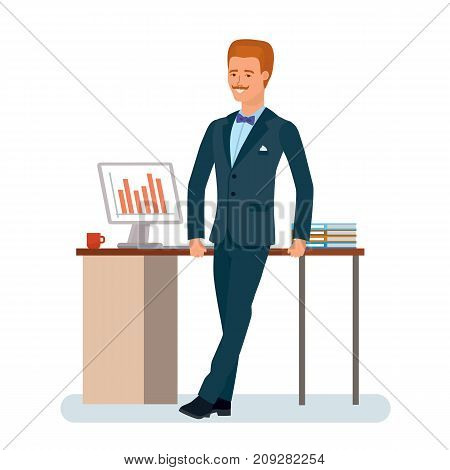 Smart creative man cartoon character. Man in beautiful business suit, businessman, leans on work desk, with documents and computer. Work in office, statistical analysis of data. Vector illustration.