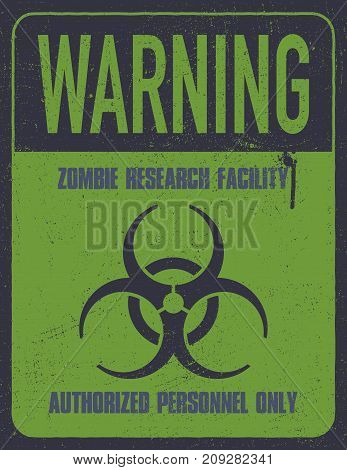 Grungy biohazard symbol. Zombie research facility. Vector illustration