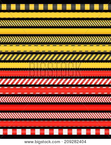 Collection of red and yellow restriction tapes. Attention ribbons isolated on white background