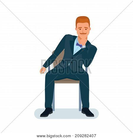 Smart creative man cartoon character. Man in beautiful business suit, businessman, sits on chair, holds chin with hand, looks listens information. Resting, spending free time. Vector illustration.