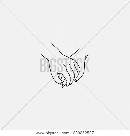 Drawing of one hand clasping other isolated on white background. Symbol of love, close relationship, passion, tenderness, dating, romance hand drawn by black contour lines. Vector illustration