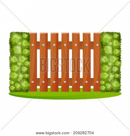 Decorative wooden fences. Exterior, appearance, design of gates and surrounding area. Lawn next to fence, landscape. Outdoor fence architecture elements. Vector illustration.