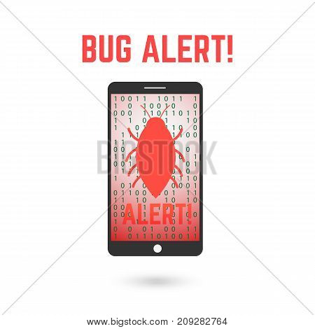 Digital bug alert. Mobile phone illustration with error warning