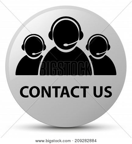 Contact Us (customer Care Team Icon) White Round Button