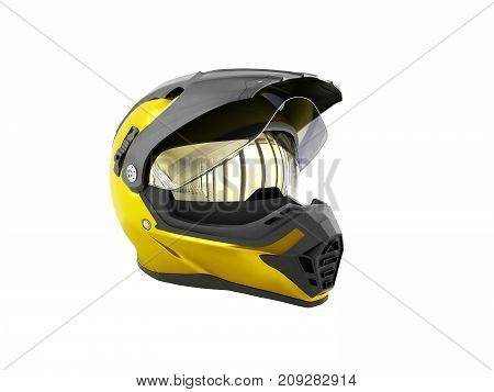 Yellow Motocross Helmet 3D Render On White No Shadow