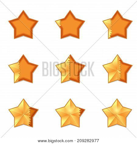 Five star rating. filling the volume of rating star animation. Vector, isolated, eps 10