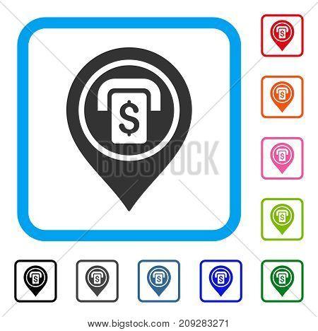 ATM Map Marker icon. Flat grey pictogram symbol inside a light blue rounded squared frame. Black, gray, green, blue, red, orange color variants of ATM Map Marker vector.