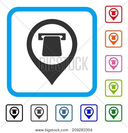 ATM Map Pointer icon. Flat grey pictogram symbol inside a light blue rounded square. Black, gray, green, blue, red, orange color variants of ATM Map Pointer vector.