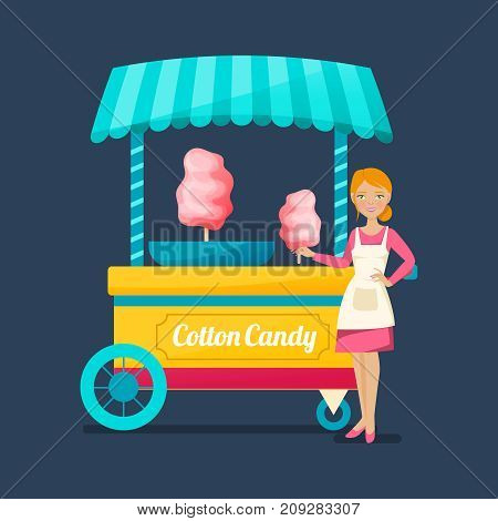 Concept of street trading. Beautiful saleswoman cartoon character of sweet cotton wool, in company clothes and apron of the company, near the counter with sweet food. Vector illustration isolated.