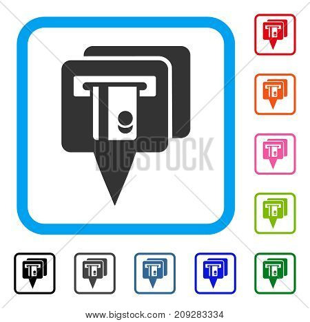 ATM Pointers icon. Flat grey pictogram symbol inside a light blue rounded rectangular frame. Black, gray, green, blue, red, orange color additional versions of ATM Pointers vector.
