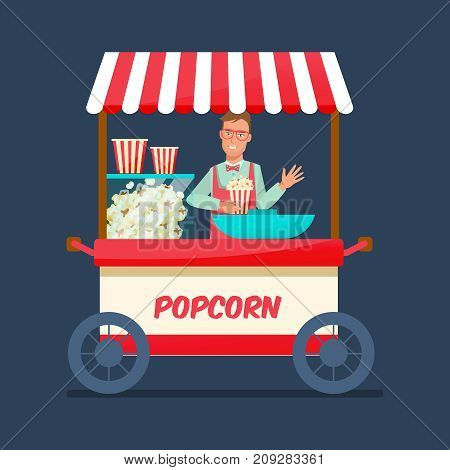 Concept of street trading. Seller of popcorn cartoon character in branded clothes, sells fresh popcorn behind the counter, food kiosk. Organic, natural food. Vector illustration isolated.