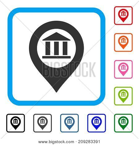 Bank Building Pointer icon. Flat grey pictogram symbol inside a light blue rounded squared frame. Black, gray, green, blue, red, orange color versions of Bank Building Pointer vector.