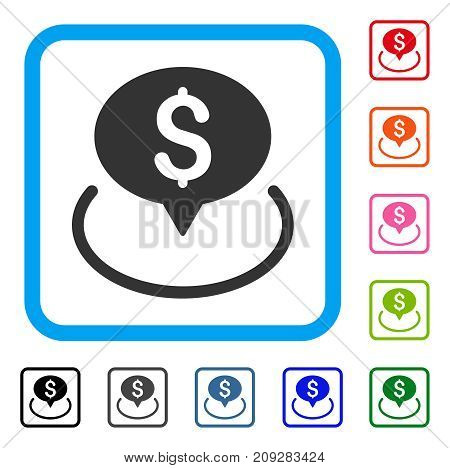Bank Location icon. Flat grey pictogram symbol in a light blue rounded rectangular frame. Black, gray, green, blue, red, orange color additional versions of Bank Location vector.