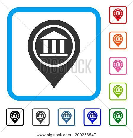 Bank Map Pointer icon. Flat grey iconic symbol inside a light blue rounded rectangular frame. Black, gray, green, blue, red, orange color versions of Bank Map Pointer vector.