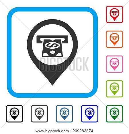 Cash Machine Pointer icon. Flat gray iconic symbol in a light blue rounded frame. Black, gray, green, blue, red, orange color versions of Cash Machine Pointer vector.
