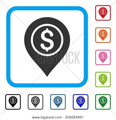 Dollar Bank Pointer icon. Flat gray iconic symbol in a light blue rounded rectangle. Black, gray, green, blue, red, orange color additional versions of Dollar Bank Pointer vector.
