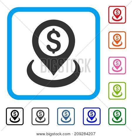 Dollar Placement icon. Flat gray iconic symbol inside a light blue rounded square. Black, gray, green, blue, red, orange color versions of Dollar Placement vector. Designed for web and software UI.
