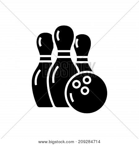 bowling icon, illustration, vector sign on isolated background