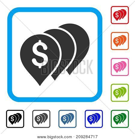 Money Map Pointers icon. Flat gray pictogram symbol inside a light blue rounded frame. Black, gray, green, blue, red, orange color additional versions of Money Map Pointers vector.